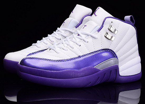Womens Air Jordan Retro 12 White Purple Taiwan
